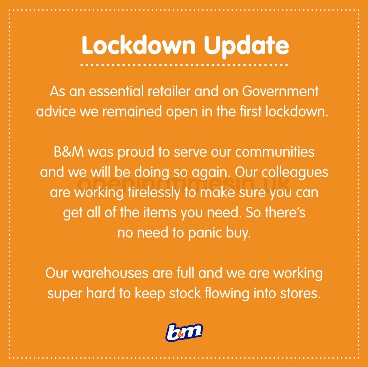 B&M Lockdown Update Offers from November 2