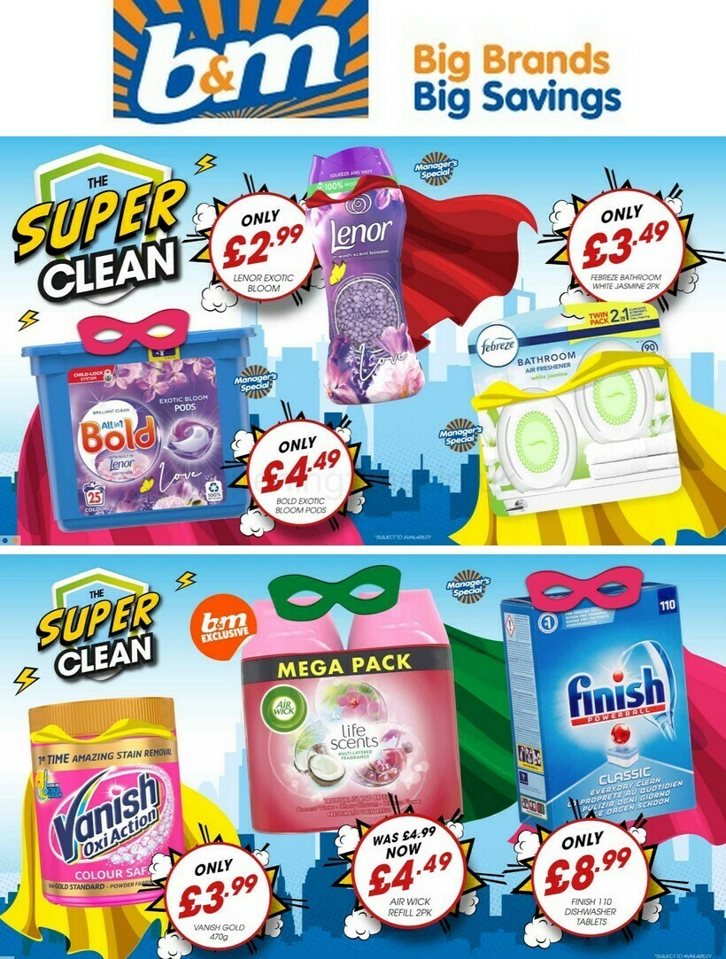 B&M Super Savings in our Super Clean Event Offers from February 7