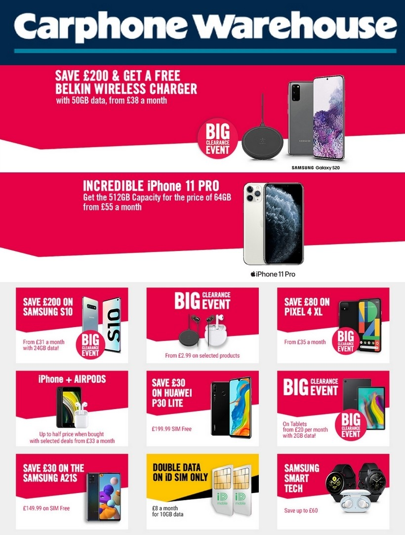 Carphone Warehouse Offers from July 16