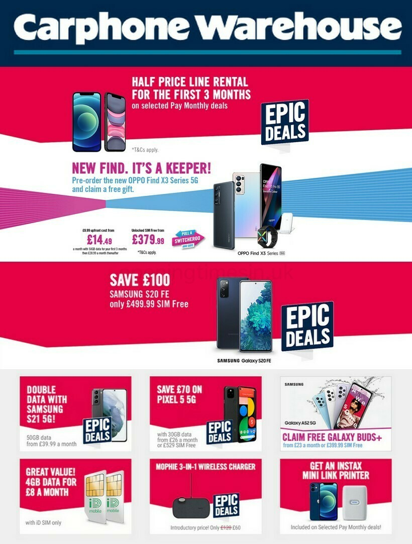 Carphone Warehouse Offers from April 8