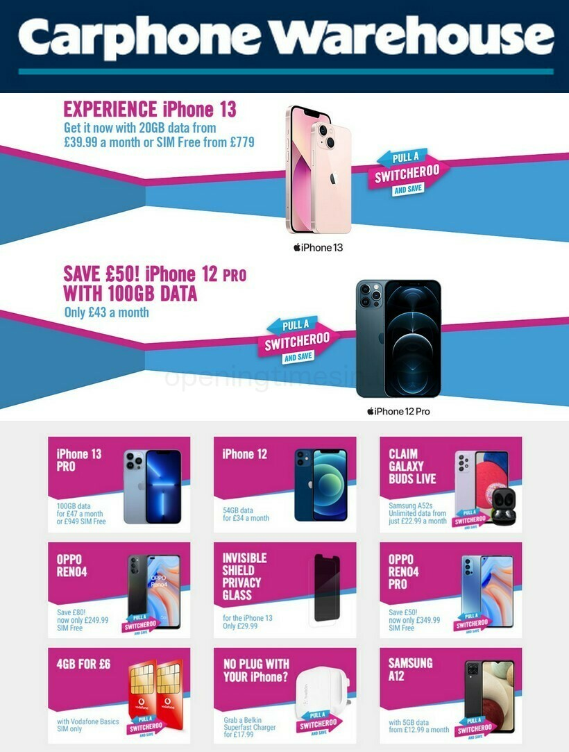 Carphone Warehouse Offers from October 6