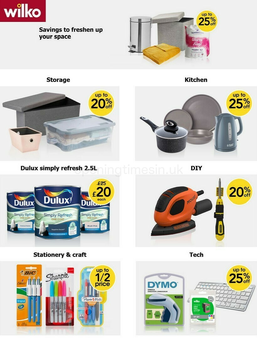 Wilko Offers from August 25