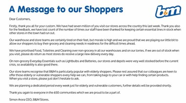 B&M A Message to our Shoppers