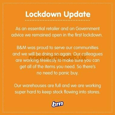 B&M Lockdown Update