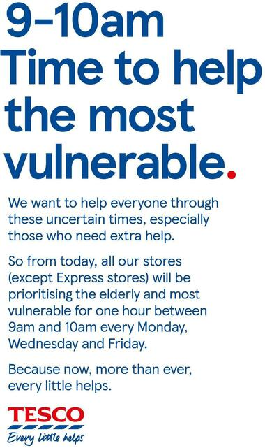 TESCO Time to help the most vulnerable